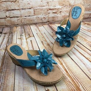 NEW Boc Leather Flower Cork Heel Sandals Shoes